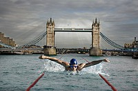 Swimmer in the river thames