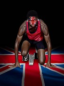 Athlete with british flag face paint