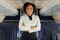 Stewardess on airplane (thumbnail)