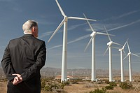 Businessman on a wind farm