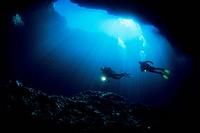Scuba Diver exploring Blue Hole Cave of Vela Luka, Vela Luka, Korcula Island, Dalmatia, Adriatic Sea, Croatia