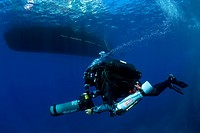 Rebreather Diver with Scooter, Ponza, Mediterranean Sea, Italy