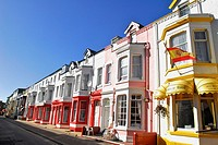 Colorful hotel fronts in Blackpool