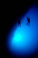 Divers at Blue Hole, Caribbean Sea, Belize