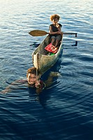 Solomon Boys in Outrigger Canoe, Solomon Islands