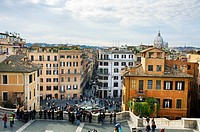 View Spanish Steps from Church of Trinita dei Monti. Rome. Lazio. Italy.