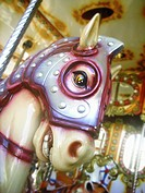 Close up of horses head on childrens merry-go-round