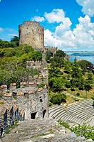 Rumeli Fortress..European Fort and Fatih Bridge. Bosphorus Strait. Istanbul. Turkey.
