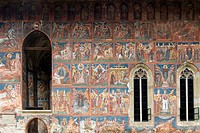 Church of the Annunciation of the Moldovita Monastery, Exterior wall paintings representing biblical scenes and legends, South Bucovina, Moldavia, Rom...