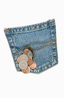 Coins out of a jeans pocket