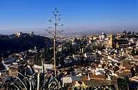 City view  Alhambra and Albaicín quarterAt right Iglesia del Salvador and in background San Nicolás Church  Granada, Andalucia, Spain