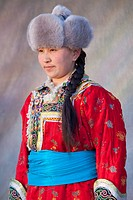 Mongolian woman in traditional costume, Ujimqin Grassland, East Ujimqin Banner, Xilin Gol League, Inner Mongolia, China