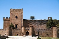 East front of castle (13th-16th century), former fortress now houses a museum about painter Ignacio Zuloaga, Pedraza, Segovia province, Castilla-Leon,...