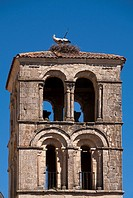 Romanesque bell tower (13th century), Church of San Juan, Pedraza, Segovia province, Castilla-Leon, Spain