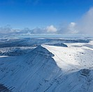 Cribyn as seen from Pen Y Fan in winter, Brecon Beacons national park, Wales