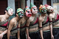 Men performing Nuo opera with mask, Shuangfeng, Nanbu County, Nanchong, Sichuan Province, China