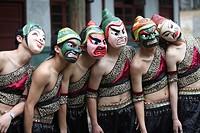 Men performing Nuo opera with mask, Shuangfeng, Nanbu County, Nanchong, Sichuan Province, China