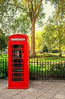 Phone box in Bloomsbury Square Gardens, London, England