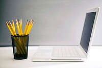 pencils and laptop
