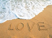 LOVE on the sandy beach