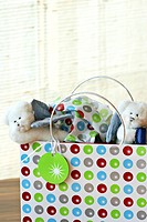 dolls in shopping bag