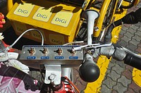 Malacca (Malaysia): detail of a rickshaw (honk, battery, lights command)