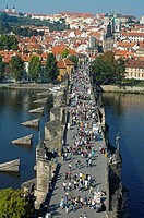 King Charles IV bridge. River Vltava. Prague. Czech Republic.