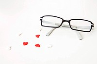 heart shapes and glasses