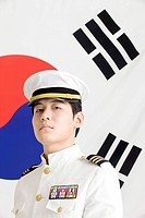 navy in front of Korean flag, Taegeukgi