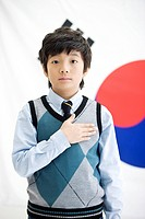 boy in front of Korean flag, Taegeukgi