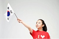 girl holing Korean flag, Taegeukgi