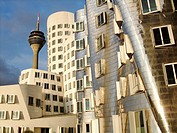 Neuer Zolholf buildings offices by the architect Frank Gehry, Medienhafen and Rhine TV tower Dusseldorf, Germany, Europe