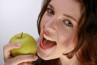 Beautiful Woman Preparing To Bite An Apple