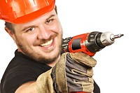 closeup on handyman with drill