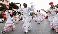 Cuban dancers during a parade in Havana, Cuba