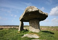 Lanyon Quoit formation of ancient historic upright granite standing stones Cornwall England Cornish West Country English