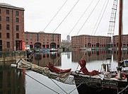 Albert Docks, Liverpool, Merseyside, England, with Liverpool Cathedral in the background