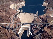 Ariel view of Hoover Dam Arizona Nevada California USA