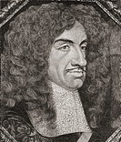 Charles II, 1630 to 1685  King of England, Scotland and Ireland  From the book Short History of the English People by J R  Green published London 1893