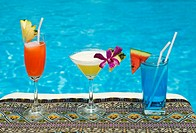 chiang mai, thailand, tropical drinks by the pool at horizon resort