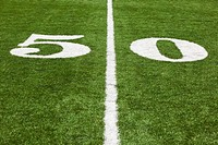 the 50 yard line marked on a football field