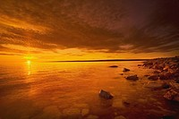 Northwest Territories, Canada, Coastline Of The Arctic Ocean At Sunset