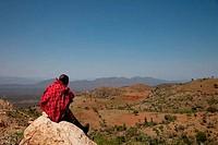 Man sitting on a rock, Ethiopia