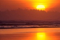 Reflection of sun in the ocean, Long Beach, Pacific Rim National Park Reserve, Vancouver Island, British Columbia, Canada