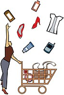 Woman catching shopping products