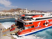 europe, greece, cyclades islands, island of naxos, naxos village, ferry boat