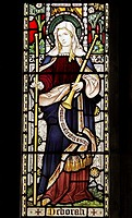 A stained glass window depicting Saint Deborah the Prophetess, St Peter and St Paul Church, Wing, Rutland  Saint Deborah is also known as Deborah the ...