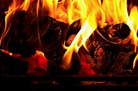 Burning logs silhouetted against flames in a hearth