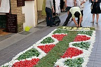 Corpus Christi procession, Flower mats & altars in the streets, Tossa de Mar, Costa Brava, Girona province, Catalonia, Spain, Europe