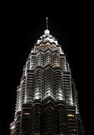 Detail of Petronas Twin Towers at night in Kuala Lumpur, Malaysia